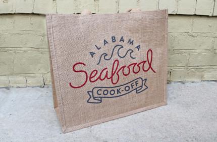 Alabama Seafood Burlap Tote Bags